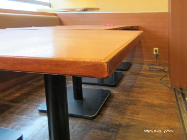 テーブルの四隅の塗装