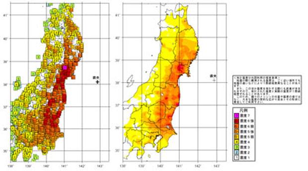 東北大震災の震度分布(気象庁HP)