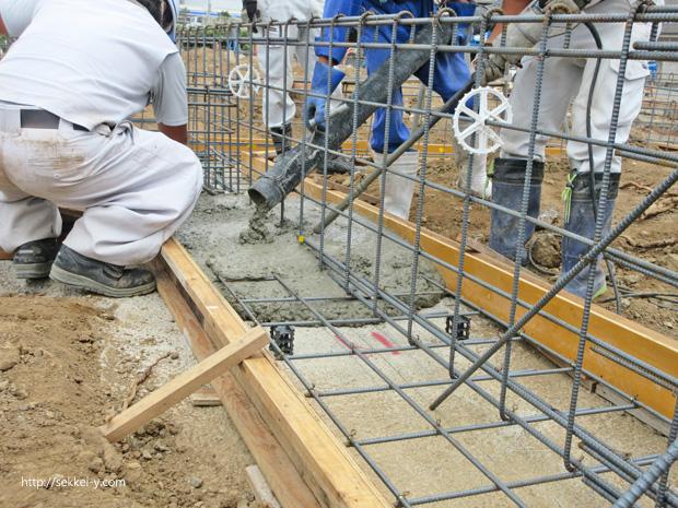 基礎ベース底版 コンクリート打設