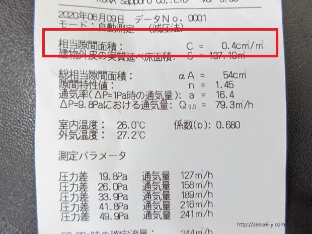 気密測定 C値0.4cm2/㎡