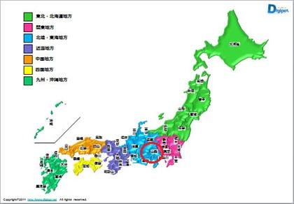 日本地図 山梨県