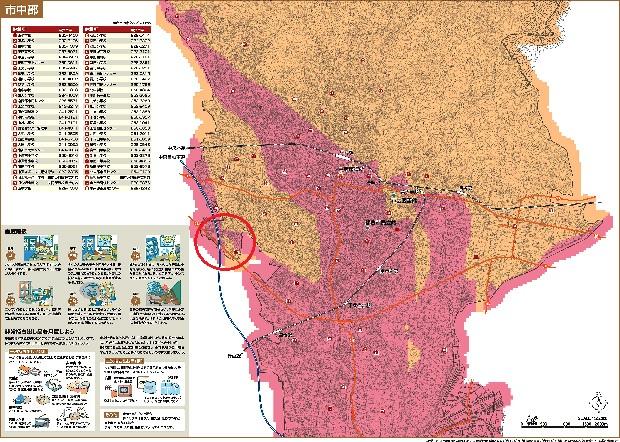 甲府市徳行3丁目の地震揺れやすさマップ
